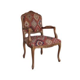 WS 2702 Boucherie Louis XV Dining Arm Chair 26W 28D 41H  COM 2 Yds